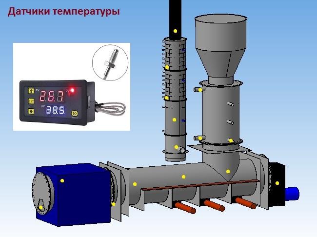 Температурные датчики на установке